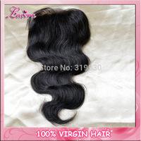 "brazilian body wave lace top closure swiss lace 4""*4"",Brazilian Virgin human Hair Top lace closure,"