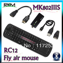 Rikomagic Bluetooth MK802IIIS 1G 8G Android 4.1 TV BOX Wifi DUAL CORE Android TV BOX MINI PC 1080P New+Fly air mouse RC12(China (Mainland))
