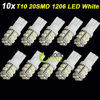 10X T10 W5W 20 SMD LED 1206 Car Side Wedge Light Bulb 194 927 161 168 White Car Door Light Tail Lamp Backup Lighting