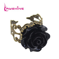 Hot Selling Elegant Vintage Jewelry Fashion Gothic Black Rose Hollow Out Flower Rings for Women