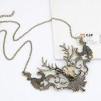 Vintage Hollow Alloy Elk Ethnic Gold Collar Choker Statement Necklaces & Pendants New 2014 Fashion Jewelry Women Wholesale N124