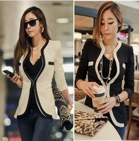 Big Size New 2013 The Women's Coat OL V-neck Autumn White Black Color Suits Jacket Wholesale Outerwear Plus Size Slim S XL XXL