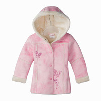 Freeshipping Autumn winter pink Children Child girl Kids baby lady hoody hooded suede coat jacket cardigan outwear top WM0156