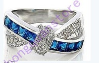 hot sale Jewellery New sapphire lady's 14KT white Gold plated Ring sz6/7/8/9 Zircon ring Classic cross woman ring