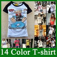 2014 new 14 color t shirt women  spring women's cartoon energetically water 100% cotton short-sleeve round neck T-shirt