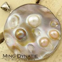 Natural Blister Pearl Sea Shell Silver-plated Pendants BP016