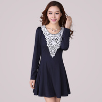 XL XXL 3XL 4XL 2014 Plus Size Long Sleeve Crothet Embroidery Lace Elegant Spring Autumn Dress Brand Knee Length Flower Dresses