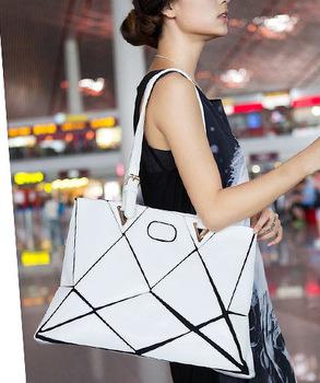 Korea Style Black and White Patchwork Fashion women leather handbags Women Handbag Casual women messenger bags