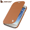 Jisoncase Side Flip Case for Galaxy S III Brown case real leather case for Samsung Galaxy S3 i9300 genuine leather case