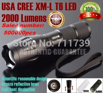 AUTHENTIC GUARANTEE E17 CREE XML T6 led 2000LM Aluminum led Torches Zoom led flashlight torch light For 3xAAA or 1x18650 battery