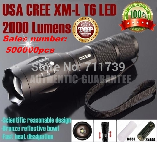 UltraFire E17 CREE XM-L T6 2000Lumens cree led Torch Zoomable cree led flashlight torch light For 3xAAA or 1x 18650 rechargeable(China (Mainland))