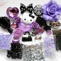 Hello Kitty Cabochon Phone Deco for DIY Phone Cases Jewellery Purple Rhinestones Silver Leopard Gems