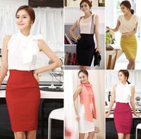Summer Korean Fashion Women's  Skirt High Waist A-line Tight Skirt Juniors Hip Wrap Solid 6 Colors Mixed Batch