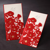 Free Shipping Personalized Tri-fold Wedding Invitation With Red Poppies Cut-out Sleeve (Set of 50)
