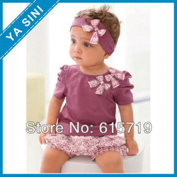 2013 Hot selling baby girl suits Purple sets:3 pieces:headband+shirt+pant/baby wear/baby set /baby suit Lovely New designs(China (Mainland))
