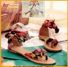 2014 Flower Print flats 34-43 for women Summer Sandals Ribbon Sweet Ladies fashon Leisure shoes RL390(China (Mainland))