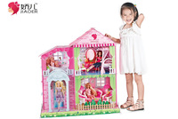 Free shipping best gift for girls Jiaoer big DIY furnished with light and music princess doll house