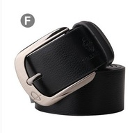 New Men's Fashion Classical Genuine Leather Premium Textured Metal Buckle Belt 3 Colors #K827A Free shipping