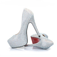 Free Shipping 11cm/14cm Ladies Fashion Crystal Wedding Shoes Sexy Thin High Heels Rhinestone Shoes Pumps,Plus size US4-US13