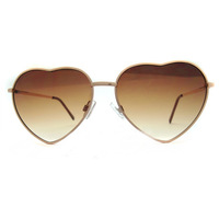Large female heart Sunglasses lovely brown metal frame glasses anti UV anti ultraviolet decorative Sunglasses  female glasses