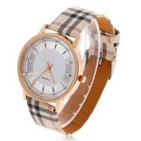 Relogio New 2015 Wholesale Men/Women Fashion Grid Leather Strap Quartz Watch With Black&White Dial Invicta Wristwatch