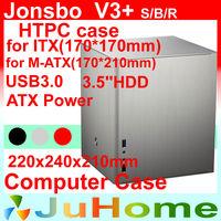 Retail box,Free fan, HTPC case mini-ITX, USB3.0, 3.5'' HDD, PS2 power supply, aluminum 1.5mm, Jonsbo V3+, other V2, V4, U2, V6
