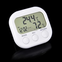 5Pcs/Lot Indoor Digital Thermometer Hygrometer Clock KS-005 White Free Shipping TK0440