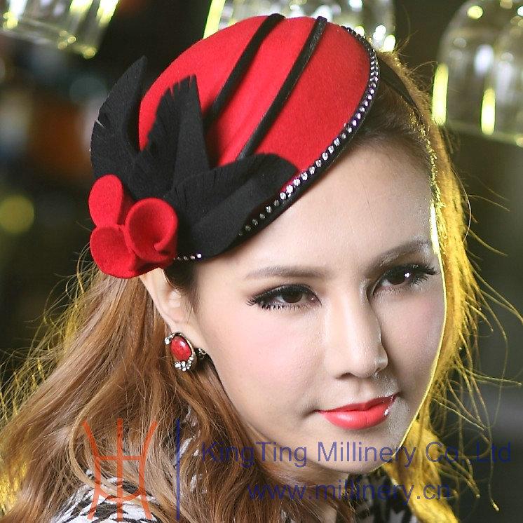 Women Dress Fascinator Hats Wool Elegant Hair Accessories Wedding Headpiece Winter Dress Red(China (Mainland))