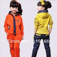 New Hot sell children girl set cotton clothes the sports suit hooded zipper jacket/pants tracksuit kids casual clothing twinset