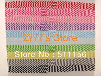 "Promotional  14colors 5/8"" FOE Free shipping 100pcs/lot Rainbow Chevron Halloween Fold Over Elastic Baby Headband Children Band"