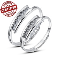 (2 pieces /a pair) 100% Solid Sterling silver 925, Adjustable open engagement wedding ring sets, 2014 new trendy jewelry