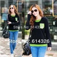 Fashion Women Single Pocket Cotton T Shirt 2014 New Spring Autumn Long Sleeve Basic Tops Tees Women Plus Size T-Shirts
