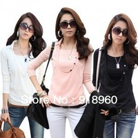 2013 Hot sale casual Women's T-shirt/ Ladies' Faux Two T shirt/ Chiffon Elegance Blouse Suit Spring & Autumn/ Free Shipping