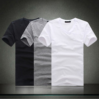 Free Shipping Unisex t shirts Blank t shirt V-Neck Cotton T-shirts S-XXXL Men's Slim Tees Women's T Shirts Short Sleeve TS301