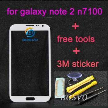 White replacement for samsung galaxy note 2 front glass n7100 outer screen touch glass lens 1 piece free shipping +tools+sticker