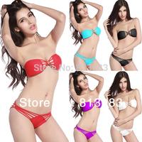 Free Shipping 2014 High Fashion Women Swimwear Sexy Swimsuit Bandeau Top and Brazilian Bottom Black Bikini Set