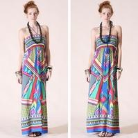 Women's Aztec Print  Maxi Dress Bohemia tube top one-piece holiday beach dress palazoo full dresses racerback free shipping