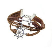 2014 Silver Infinity Rudder Anchor Leather Suede Wrap Bracelet women's accessories