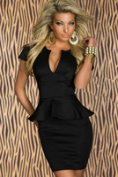 Free shipping + Lowest price New Sexy U-neck OL Peplum Dress (Black / white / Pink / Blue / Orange)   LC2774
