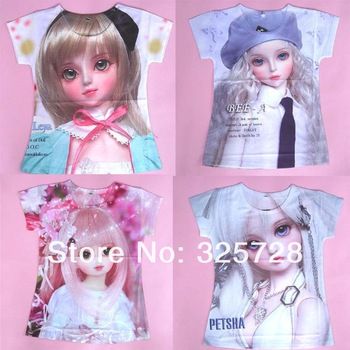 in stock! Wholesale 2013 new brand clothing,kids t-shirts beautiful girls painting picture,kids t shirt cartoon