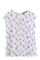 2014 Cormorant Bird printed O-Neck Sleeveless Chiffon Shirt  Fashionable Casual Blouse   K38