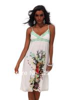 2014 Summer New Arrival Bohemian Beach Wear Spaghetti Strap Casual V-Neck Dress