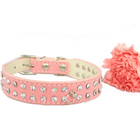 Free shipping 2014 Lefdy New  the of collar for the Dogs with rhinestones white genuine Leather Cattle cashmere