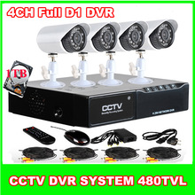 4Ch Realtime Full D1 Touch screen DVR 480TVL CMOS Weatherproof Security Camera Kit 1TB Hard Disk Support smartphone viewing