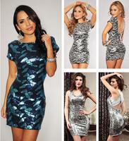 Sexy Novelty Vestidos Open Back Sequin Paillette Evening party mini Dress Short Sleeve fashion Women summer autumn clothing 2749