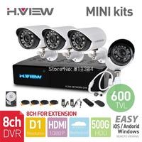 8CH CCTV System D1 HDMI MINI CCTV  DVR 4PCS 600TVL IR Outdoor Security Camera 24LEDs 500G HDD Security System Surveillance Kits