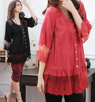 XL~4XL!! 3 Colors New Summer Ladies Korean Fashion Plus Size Clothing Cotton Lace Half Sleeve Shirts Tops Blouses