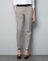 Womens European Style Black Waist Casual plaids Pencil Pants TW1029-E03