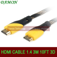 1pcs/lot Gold plated high speed HDMI cable 1.4v hdmi 3m 10ft with ethernet Full HD 1080p 4K*2K  3D for HDTV by China Post
