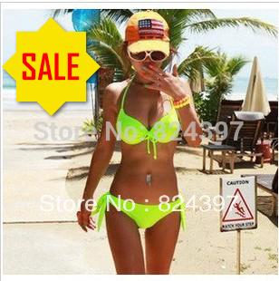 Victoria 2014 Hot Sale Neon Bikini Green Red Color Steel Push Up Mimi Neon Color Plus size XL 2XL bikini Swimwear Women swimsuit